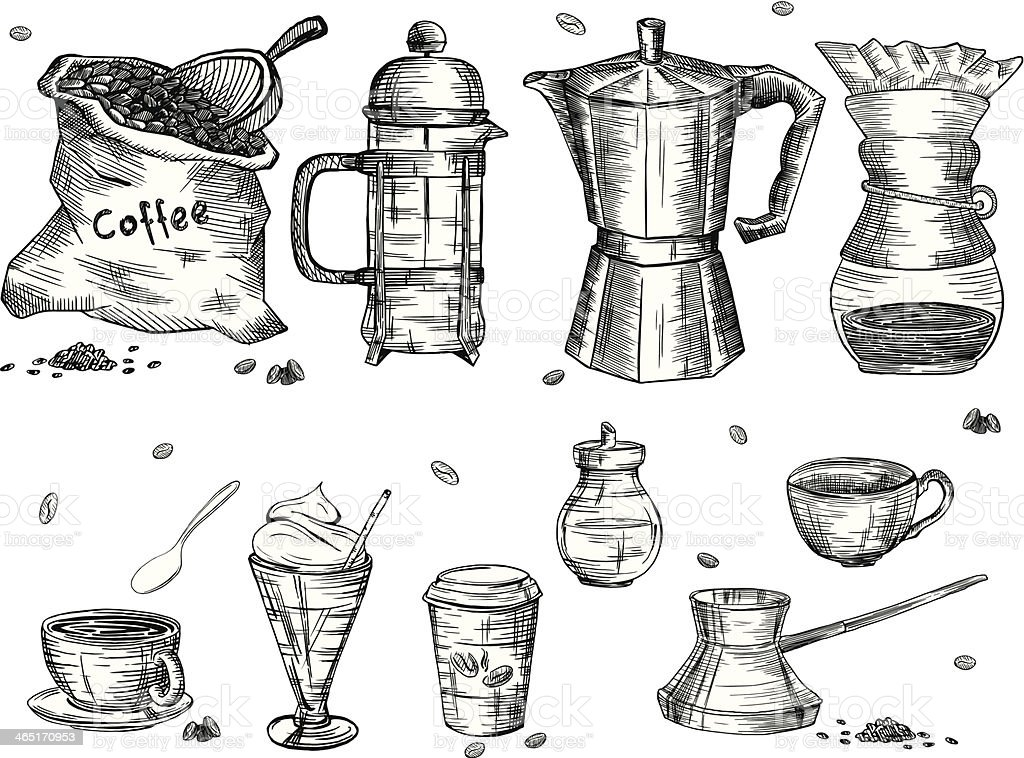 Coffee ware vector art illustration