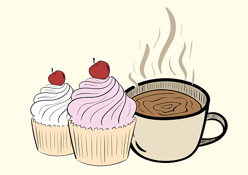Clip Art Cake And Coffee : Cherry Pie Clip Art, Vector Images & Illustrations - iStock