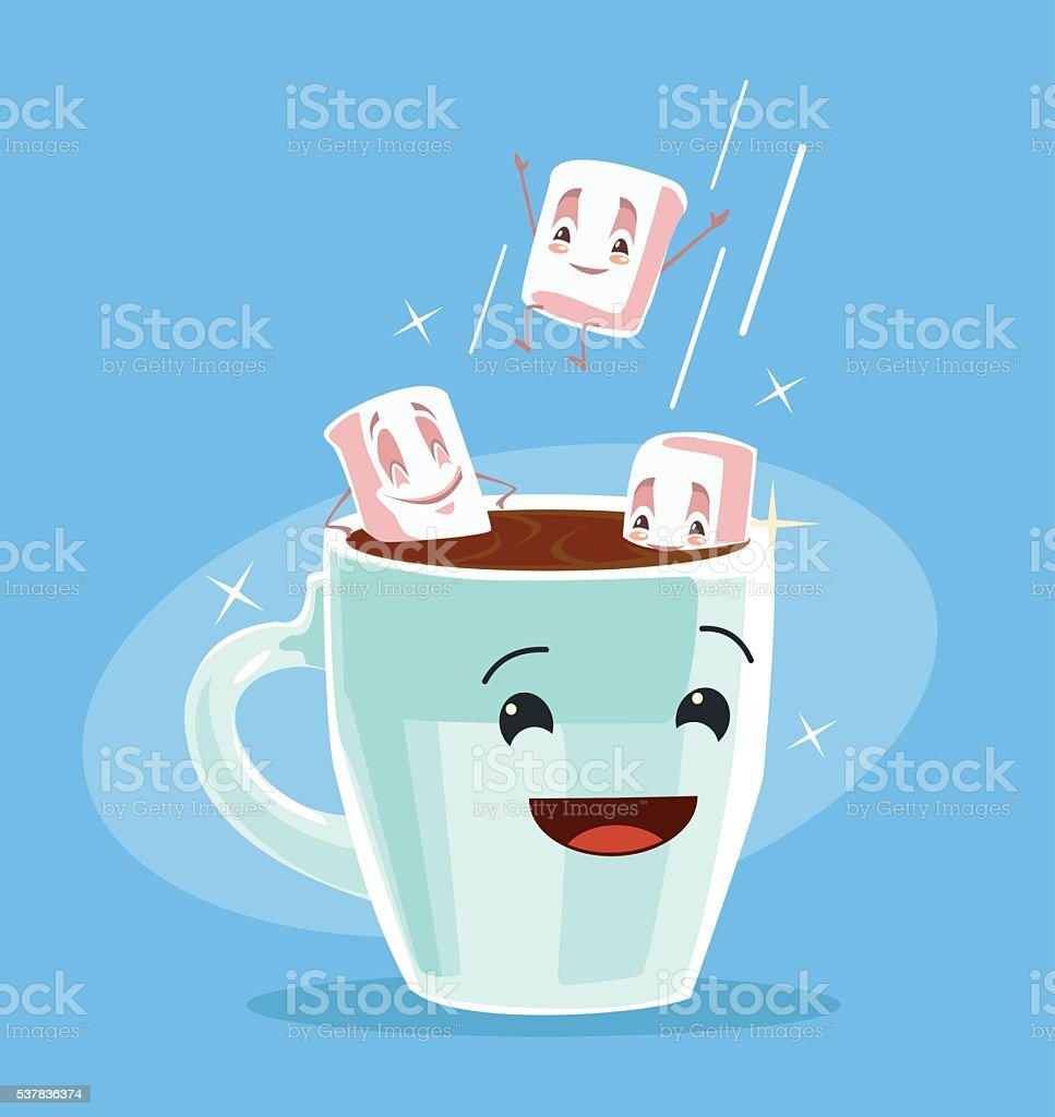 Coffee with marshmallows. Cup of black coffee vector art illustration