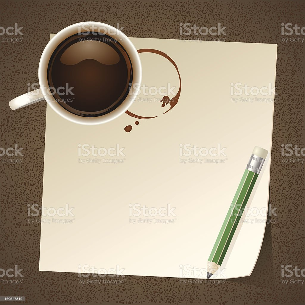 Coffee with Paper Note royalty-free stock vector art