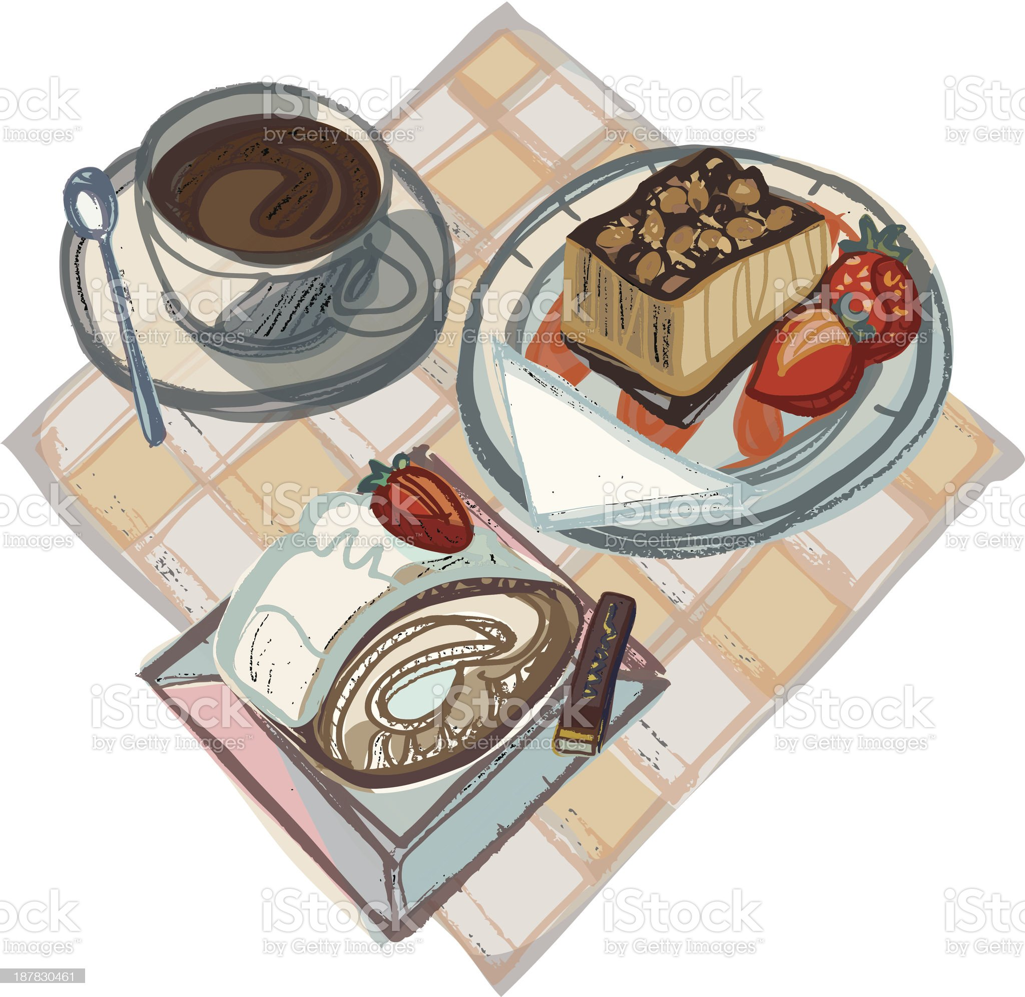 Coffee with Strawberry Cake, Swiss Gateau and Chocolate royalty-free stock vector art