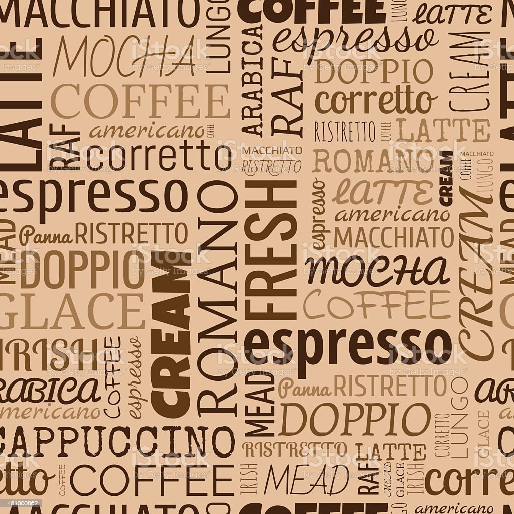 Coffee words, tags. Seamless pattern vector art illustration