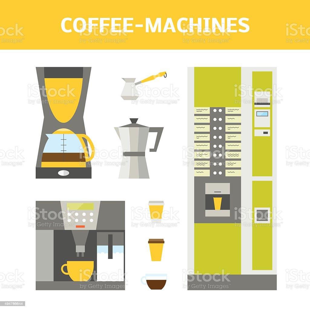 Coffee-machines set vector art illustration