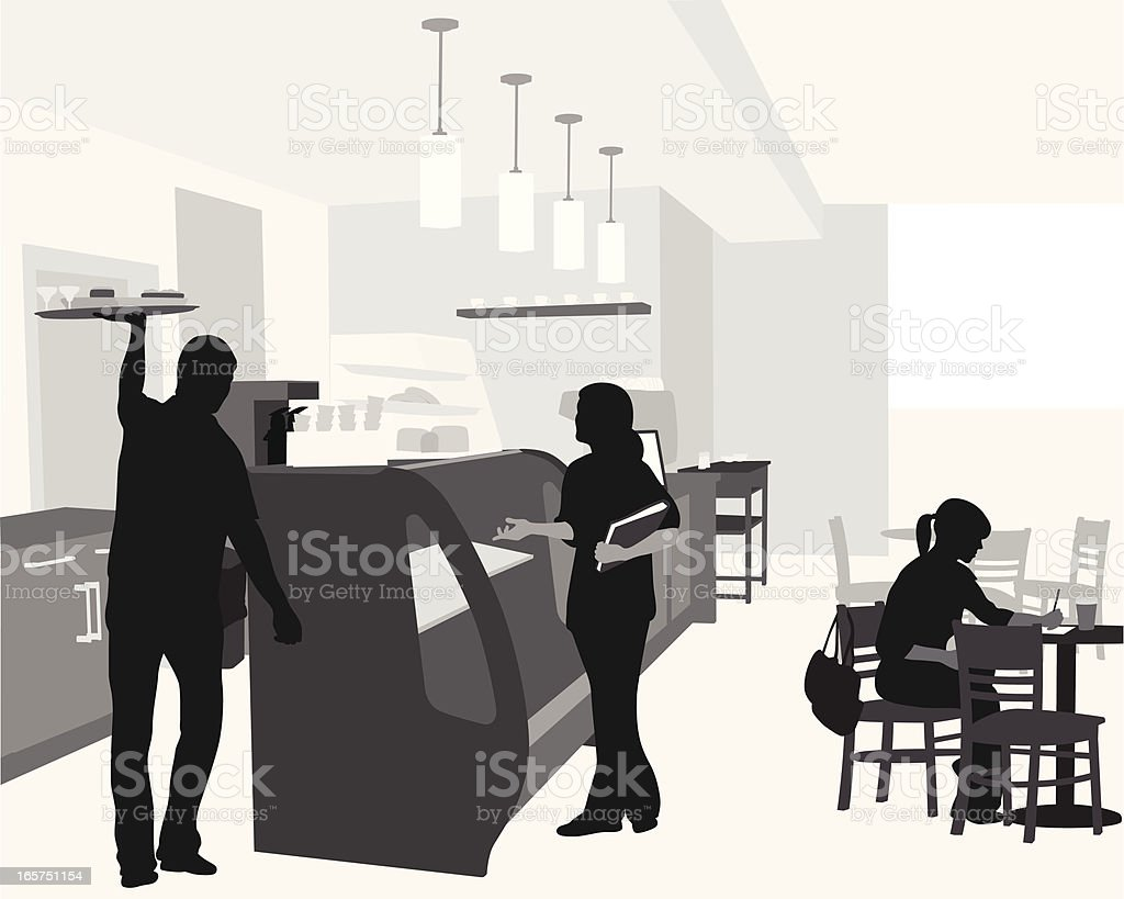 CoffeeShop Lunch Vector Silhouette royalty-free stock vector art