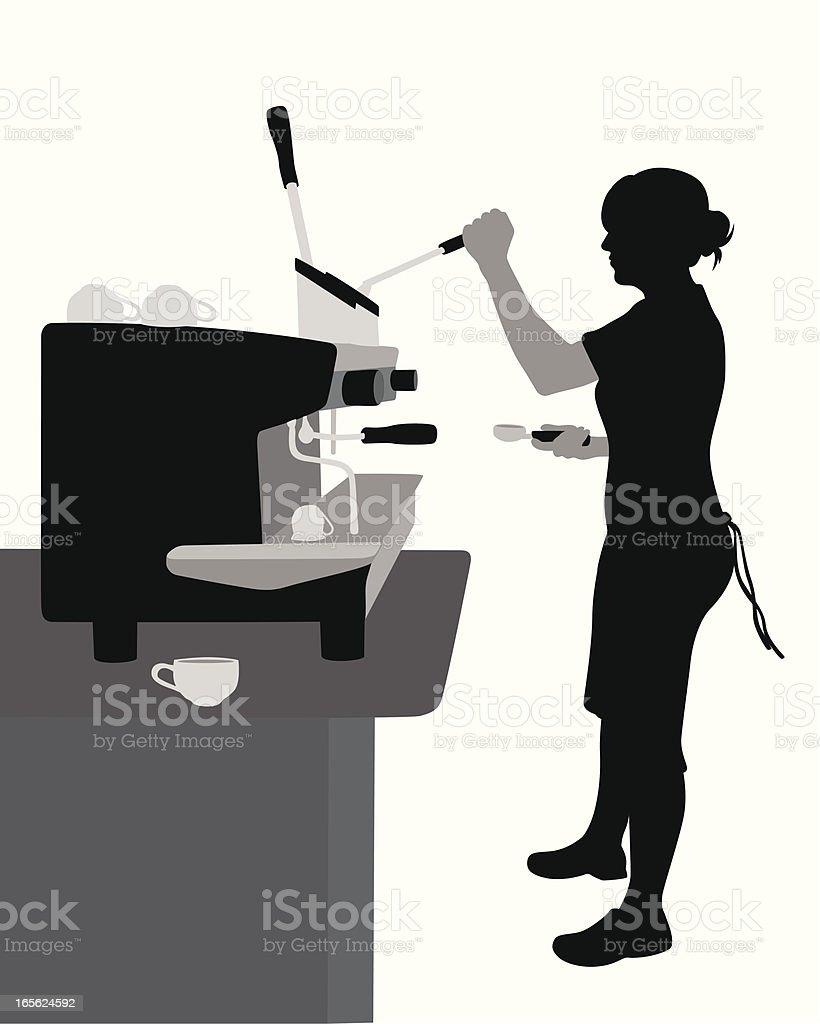 Coffeeshop Worker Vector Silhouette vector art illustration