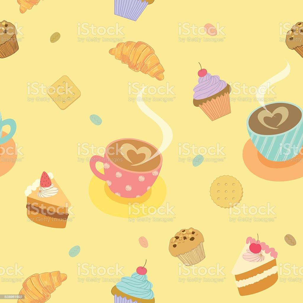 coffee-shop-pattern beige vector art illustration
