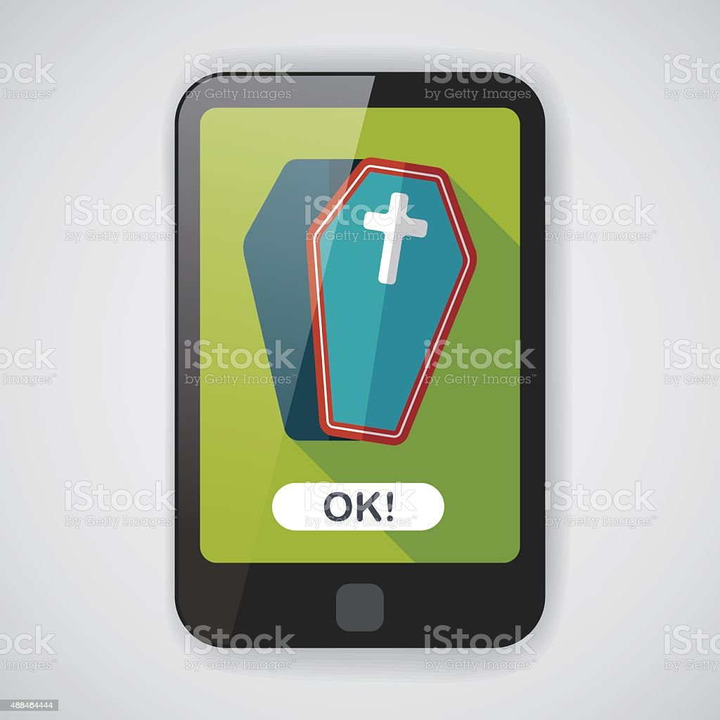coffin falt icon with long shadow,eps10 vector art illustration