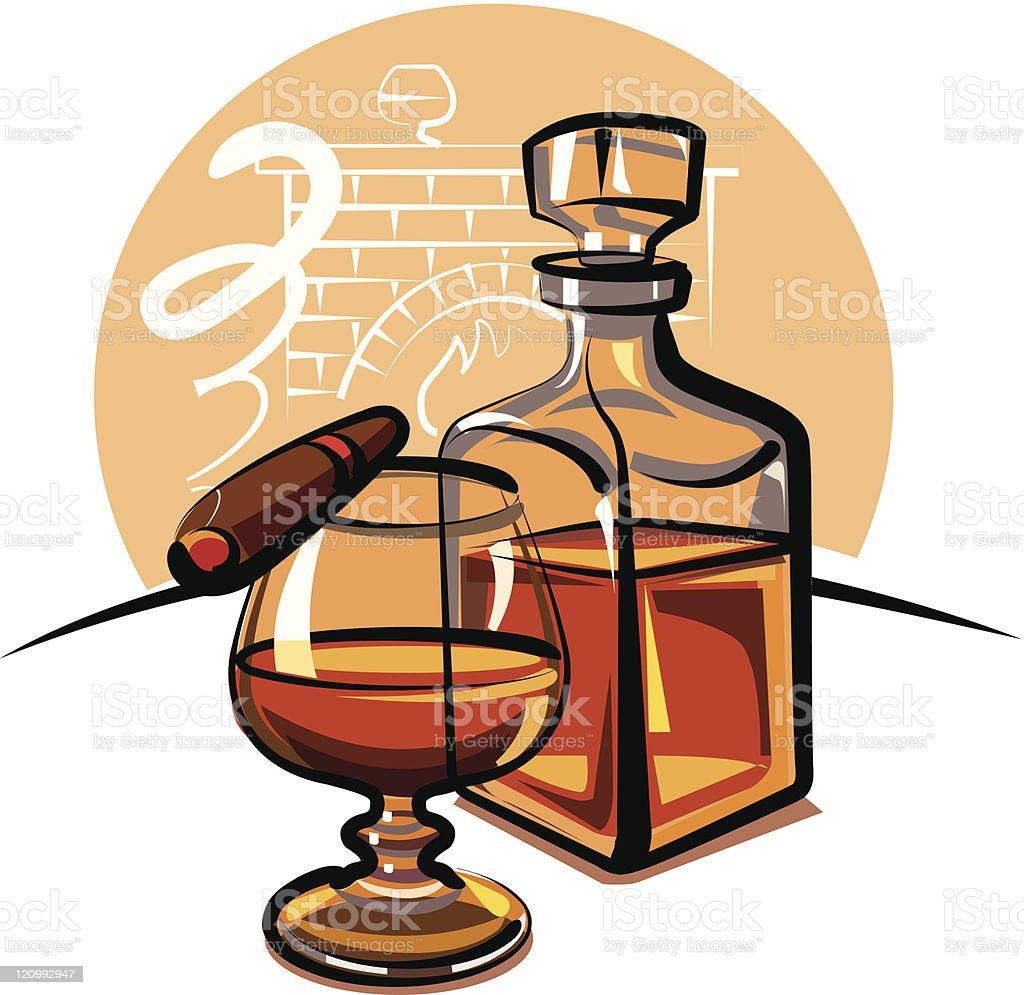 cognac and cigar royalty-free stock vector art