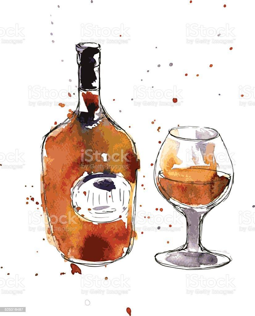 cognac bottle and glass vector art illustration