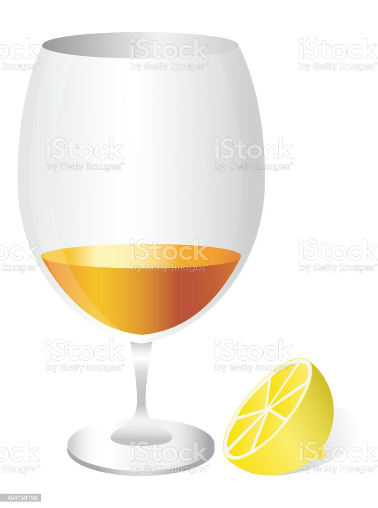 Cognac in a glass with lemon royalty-free stock vector art