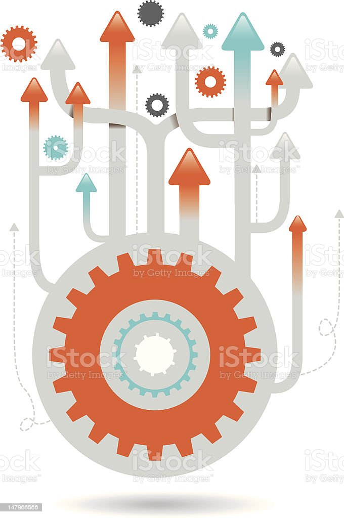 Cogs and Arrows Illustration royalty-free stock vector art