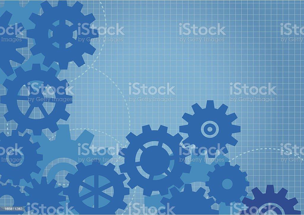 Cogs Background Blueprint royalty-free stock vector art