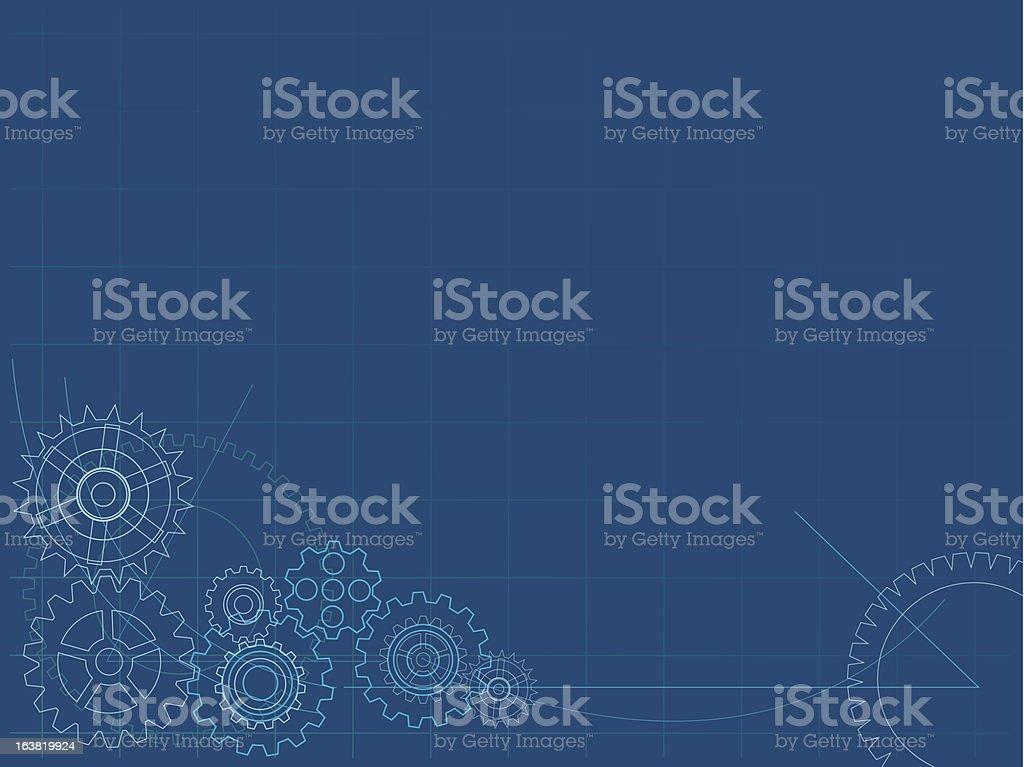 Cogs blueprint royalty-free stock vector art