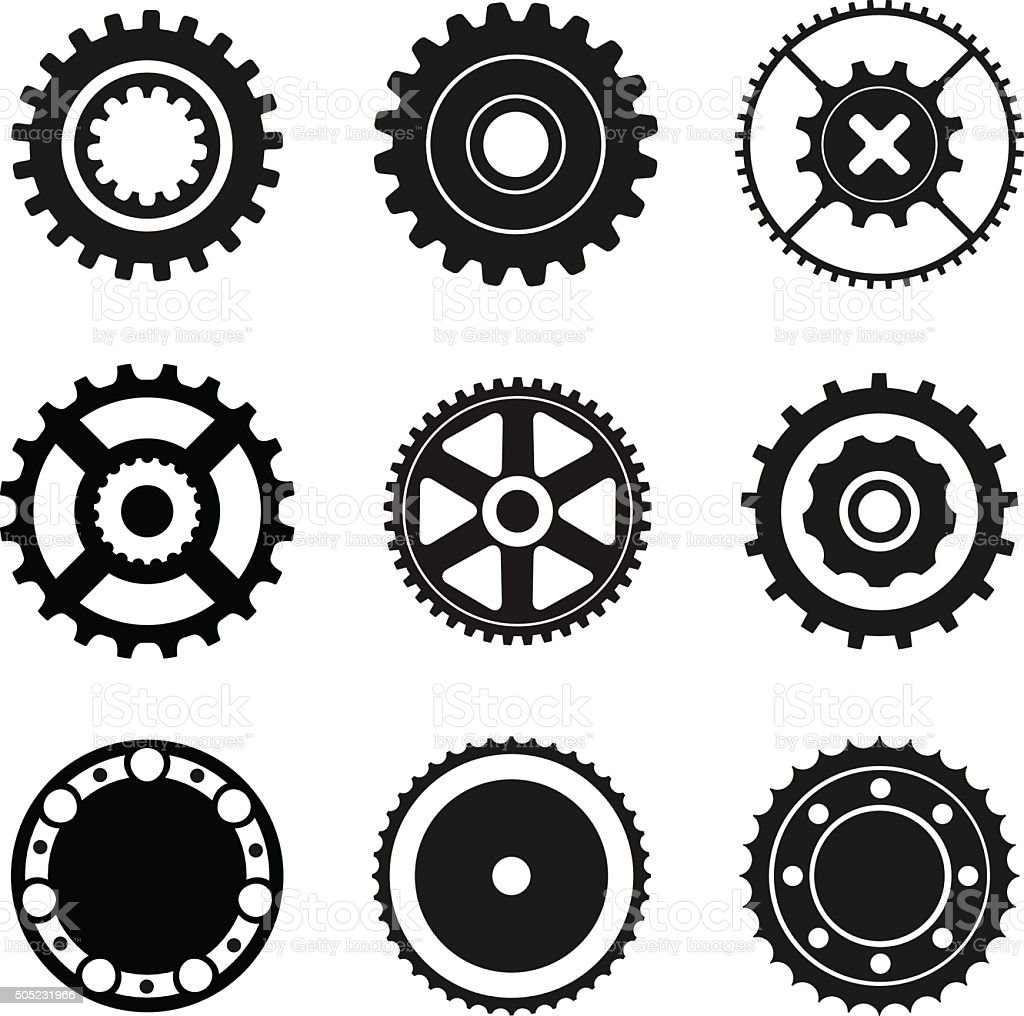 Cogwheel and bearings icons vector art illustration