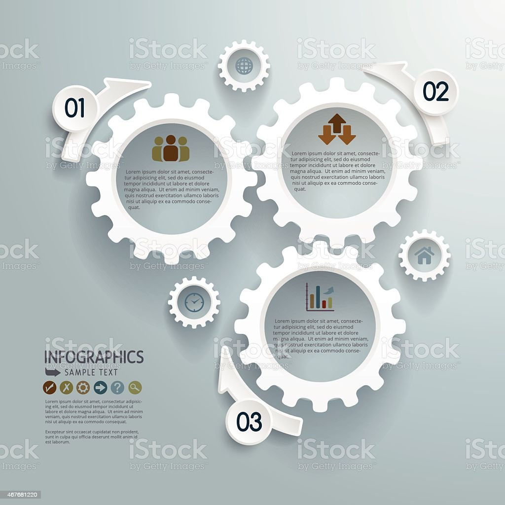 Cogwheels Abstract Modern Infographics Background vector art illustration