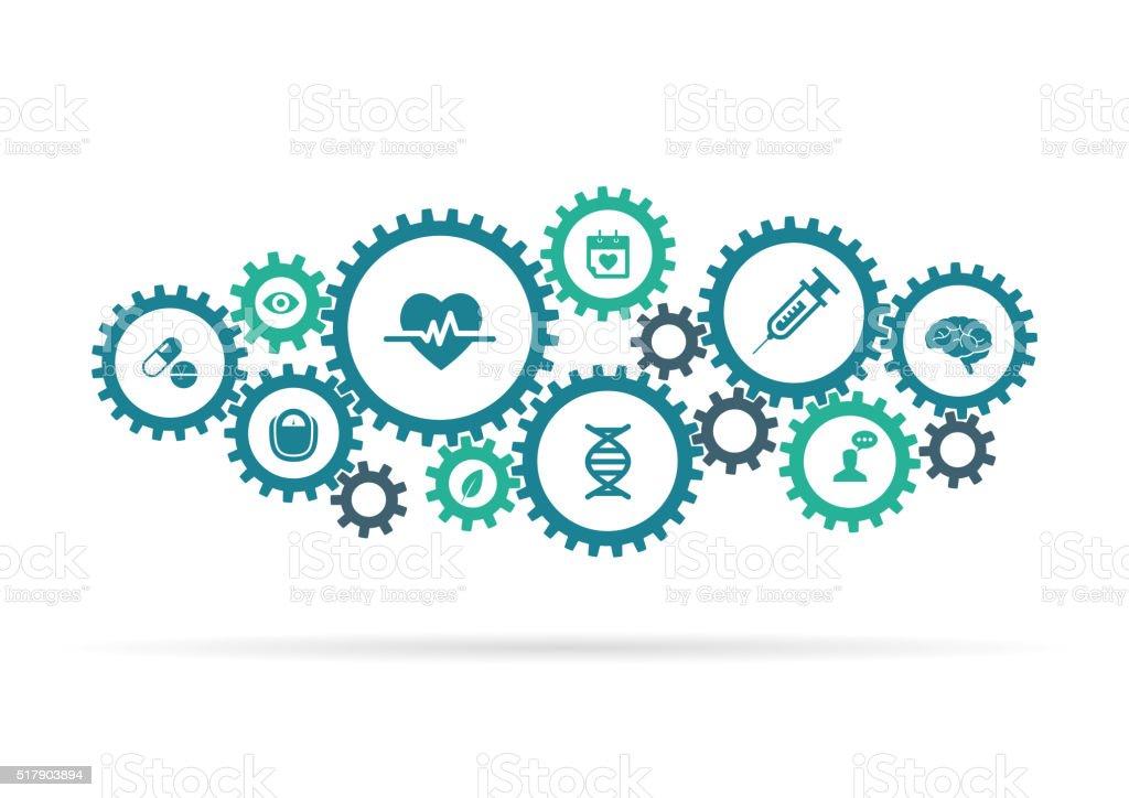 Cogwheels and medical icons vector art illustration