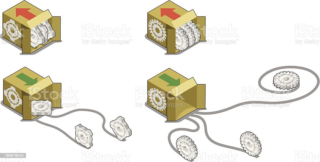 Cogwheels stored in boxes and rolling - vector royalty-free stock vector art