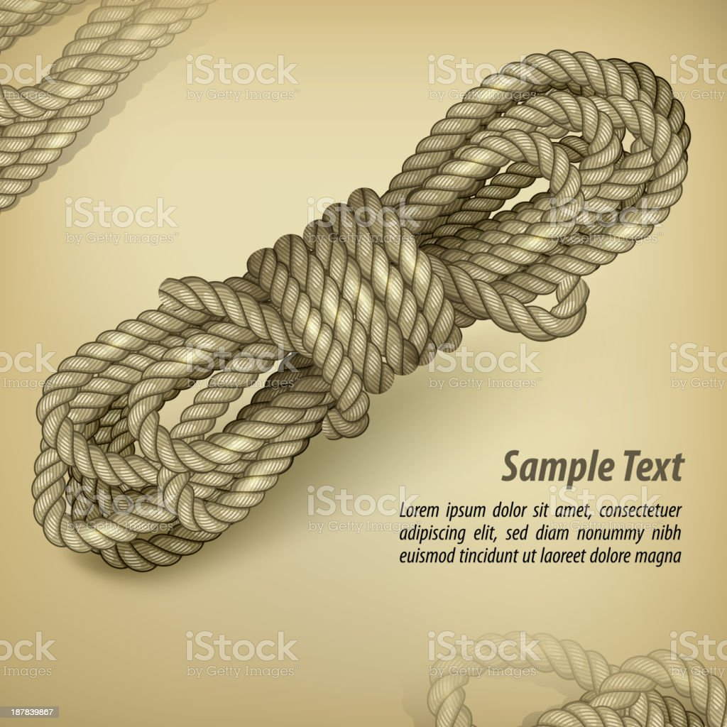 Coil of rope on rown & text royalty-free stock vector art