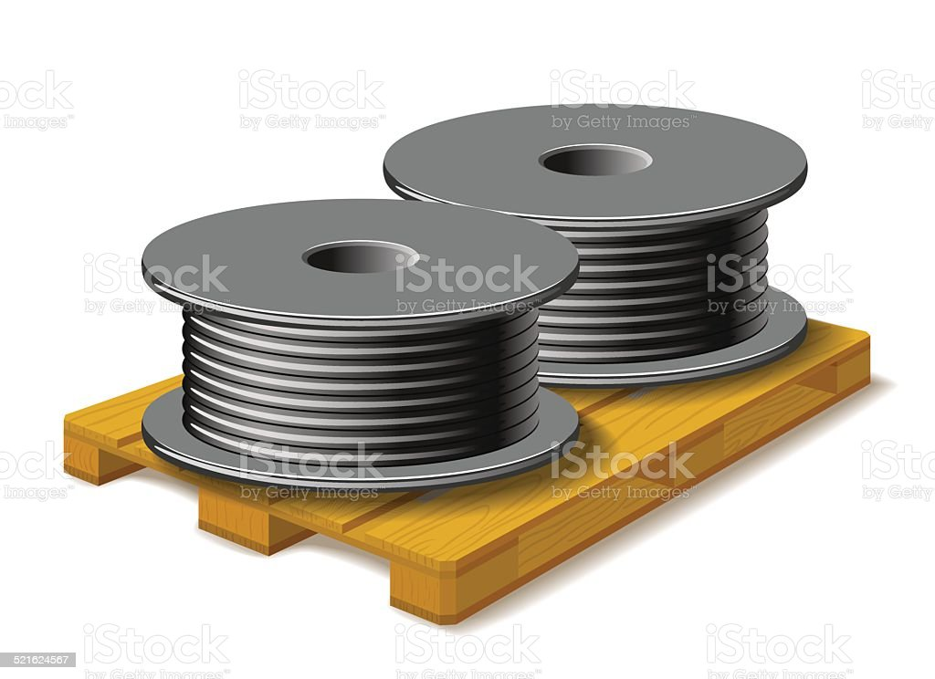 Coils with a black cord are on a wooden pallet. vector art illustration