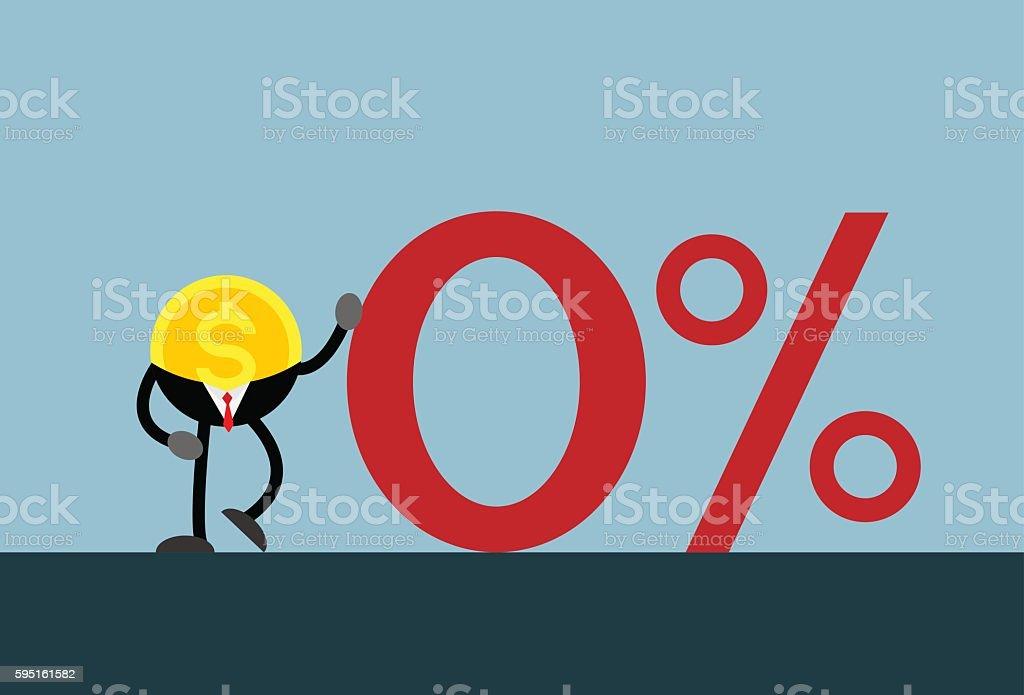 coin money lean on red zero percent vector art illustration