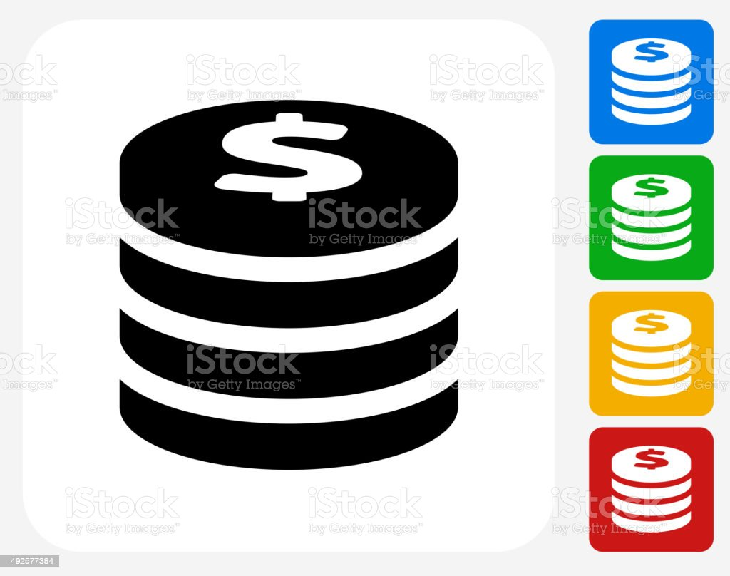 Coin Stack Icon Flat Graphic Design vector art illustration