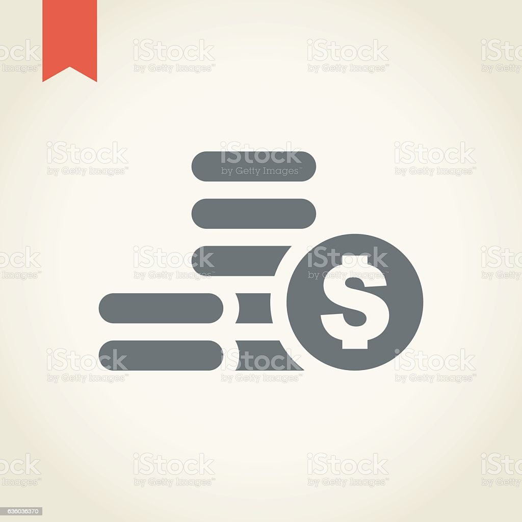 Coin stack icon vector art illustration