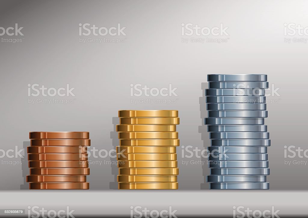 Coin Stacks with background vector art illustration