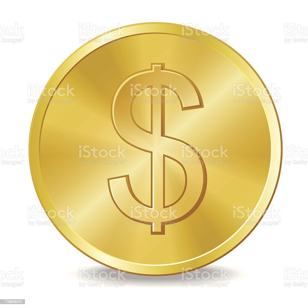 Coin with dollar sign vector art illustration