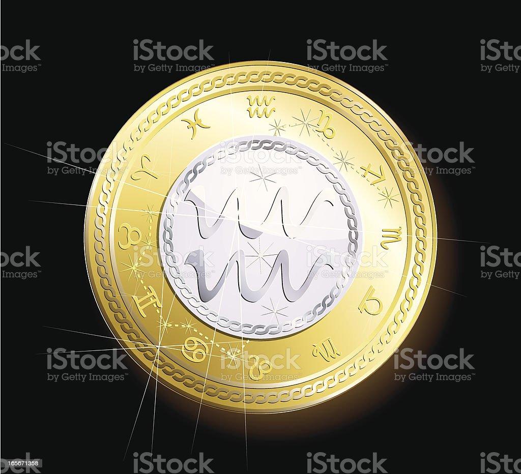 Coin zodiac- Aquarius royalty-free stock vector art