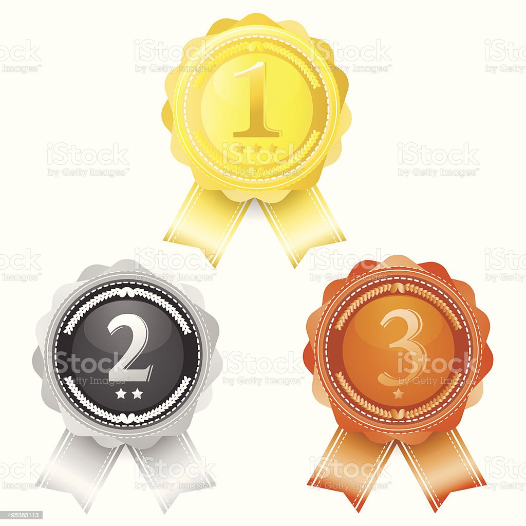 Coins award first, Second, Third. gold, silver and bronze symbol vector art illustration
