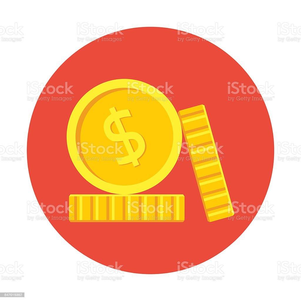 Coins icon, flat vector art illustration