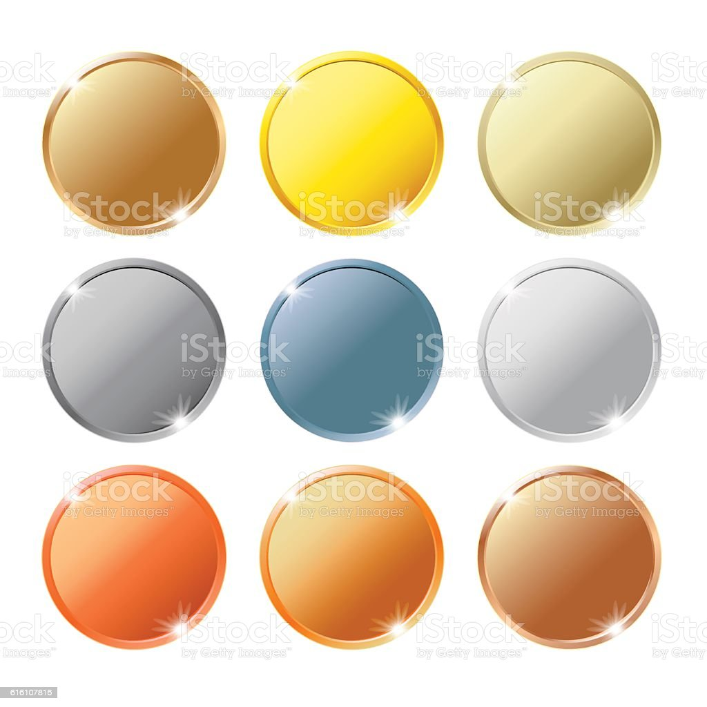 coins of different metals isolated on white background set vector art illustration