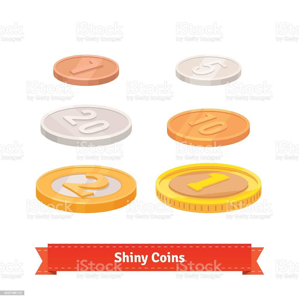 Coins set of various faces vector art illustration