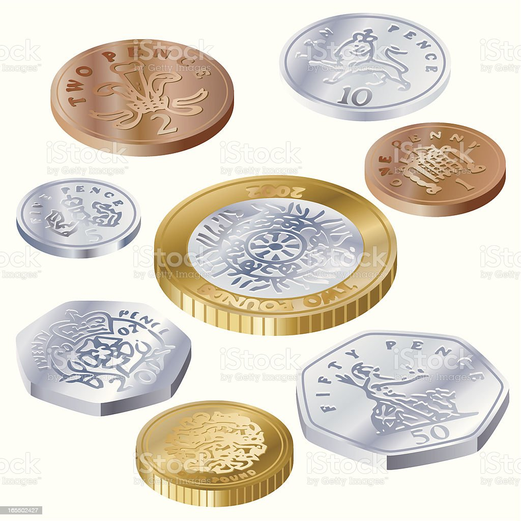 UK Coins Side view royalty-free stock vector art