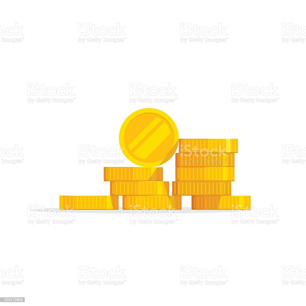 Coins stack vector illustration, icon flat, pile money isolated vector art illustration