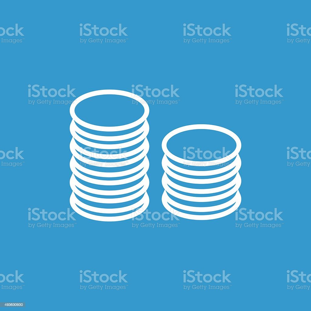 coins symbol outline icon, isolated, white on the blue backgroun vector art illustration
