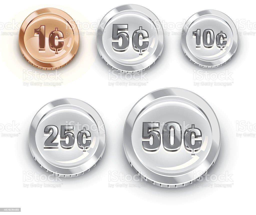 US coins vector art illustration