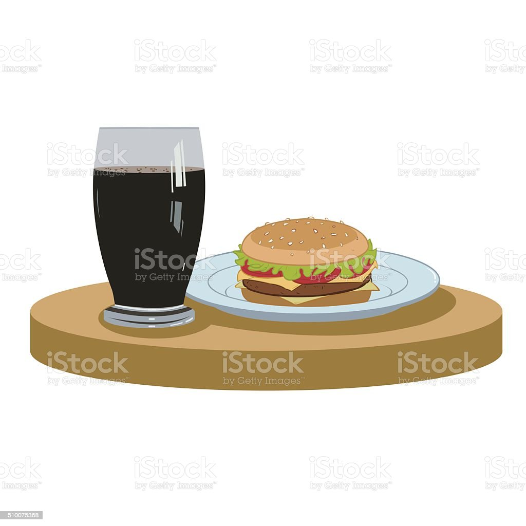 cola and a delicious burger royalty-free stock vector art