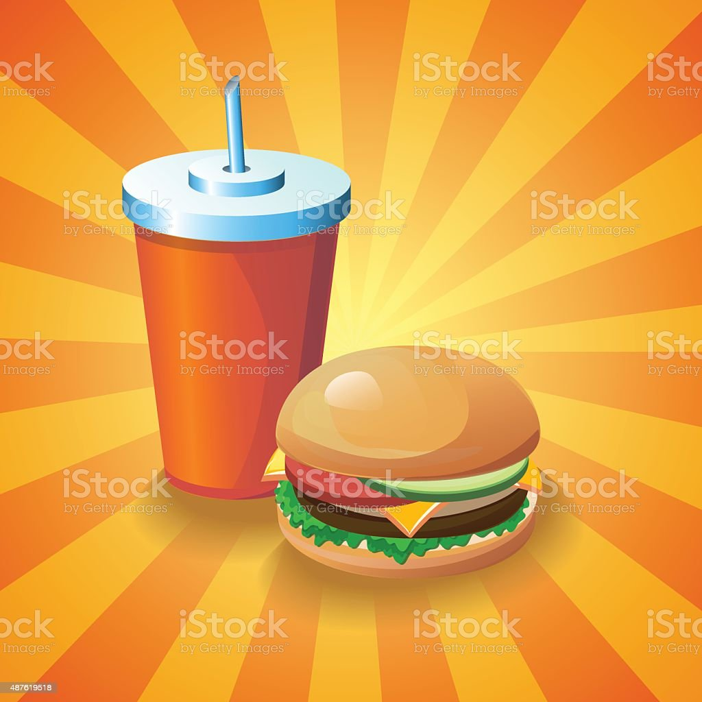 cola and burger vector art illustration