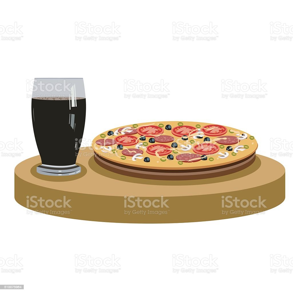 Cola and delicious pizza vector art illustration