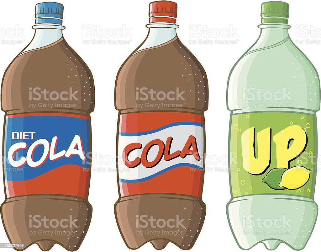 Cola bottles vector art illustration