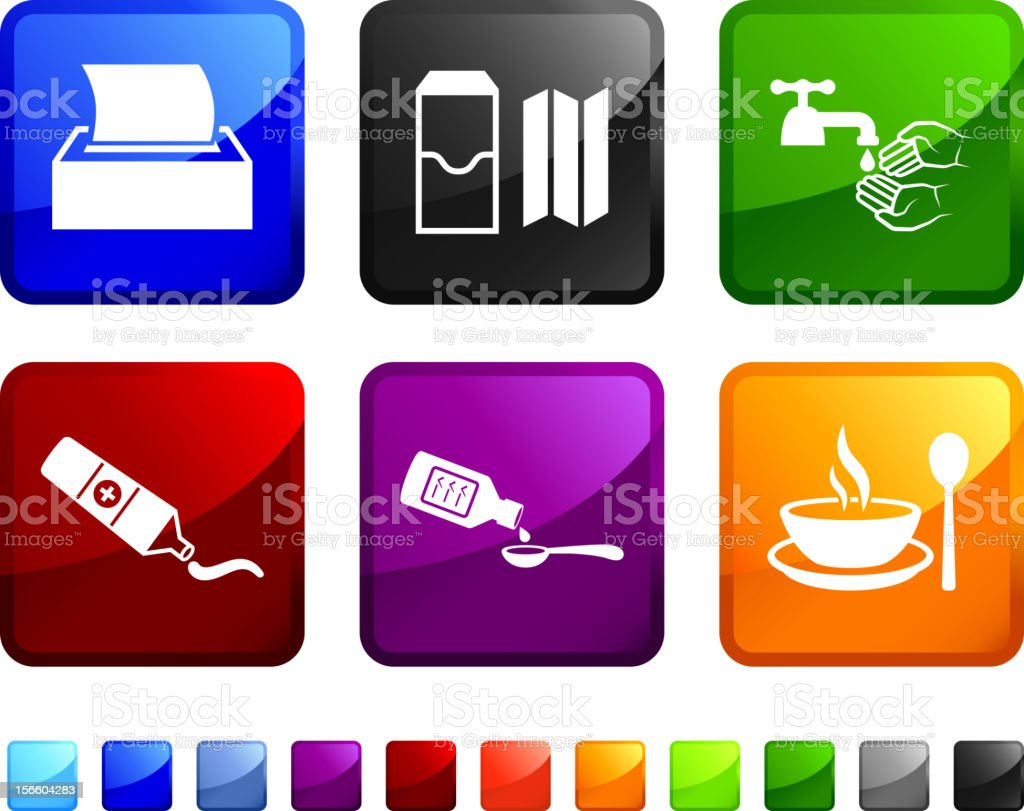 ColCold Treatment and precautions royalty free vector icon set royalty-free stock vector art