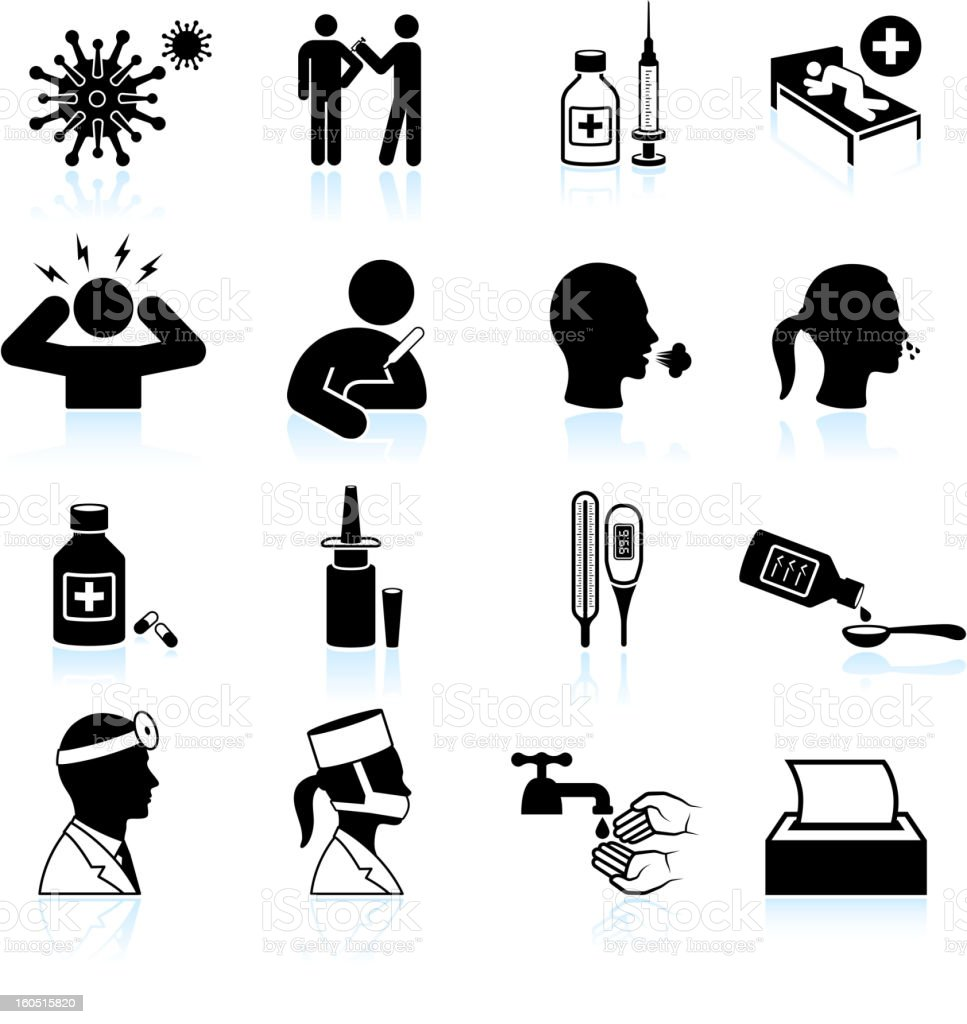 cold and flu black & white vector icon set vector art illustration