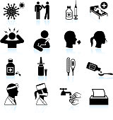 cold and flu black & white vector icon set
