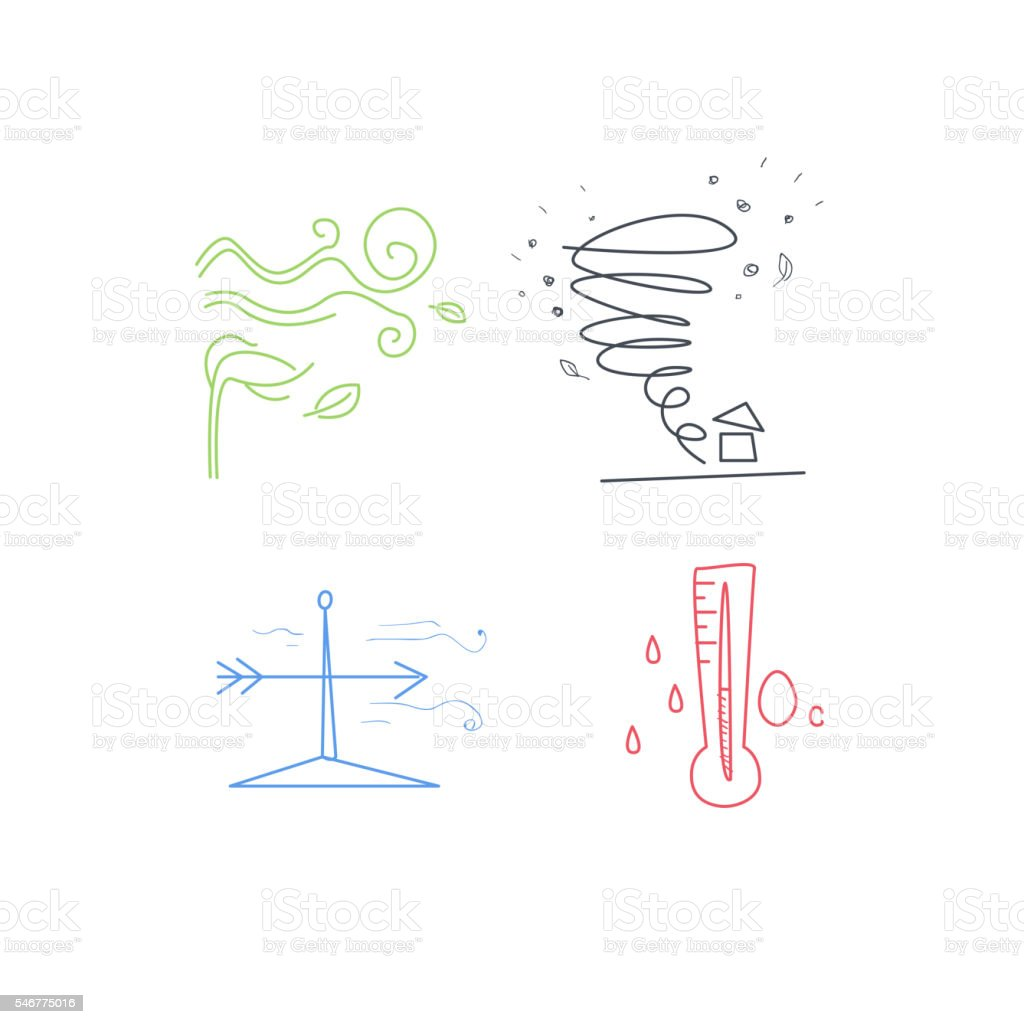 Cold And Windy Weather Set vector art illustration
