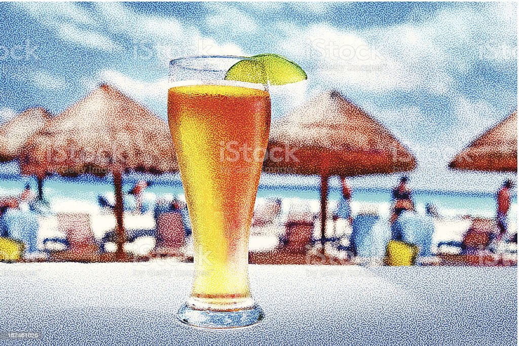 Cold Beer And A Hot Beach royalty-free stock vector art