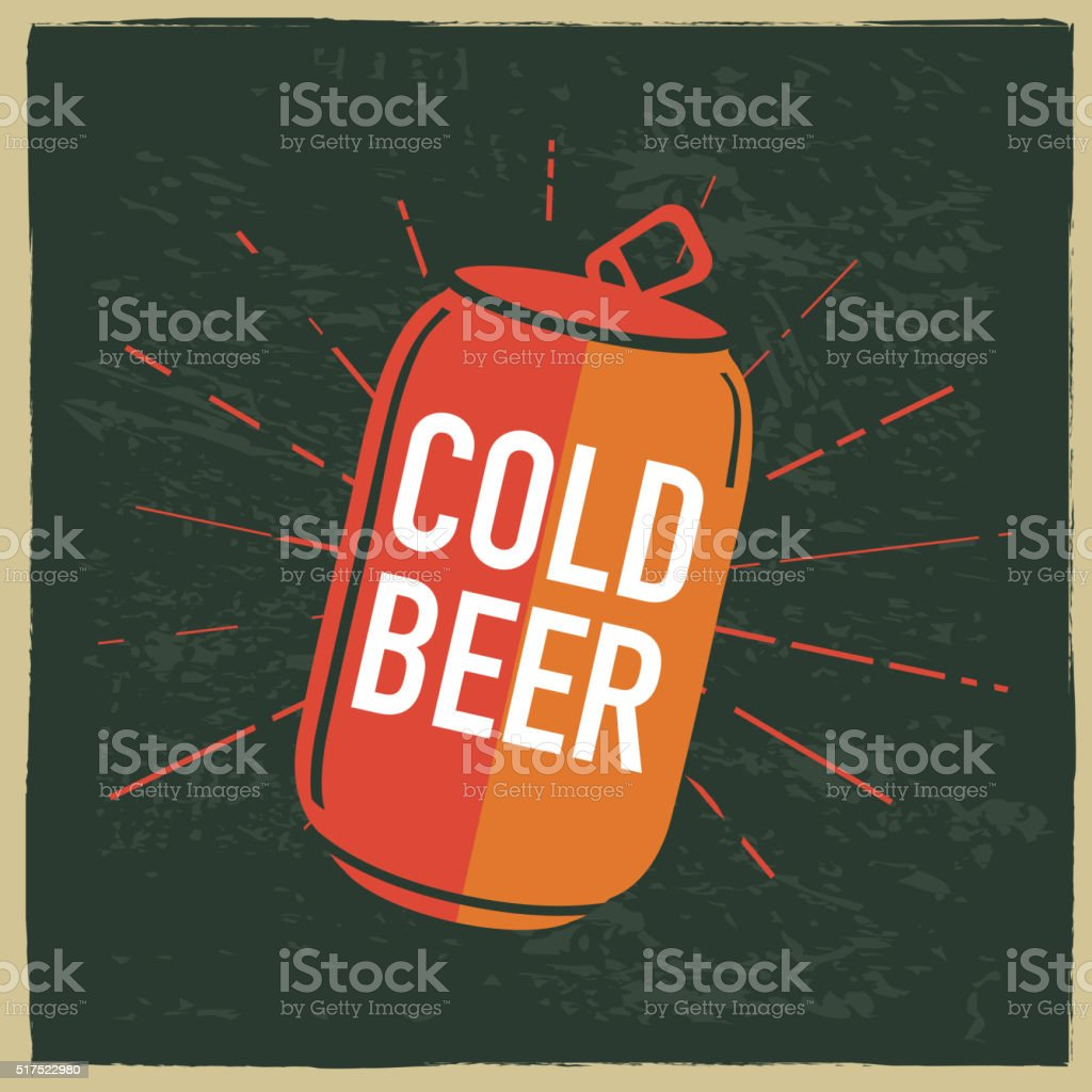 Cold beer can label design with text vector art illustration
