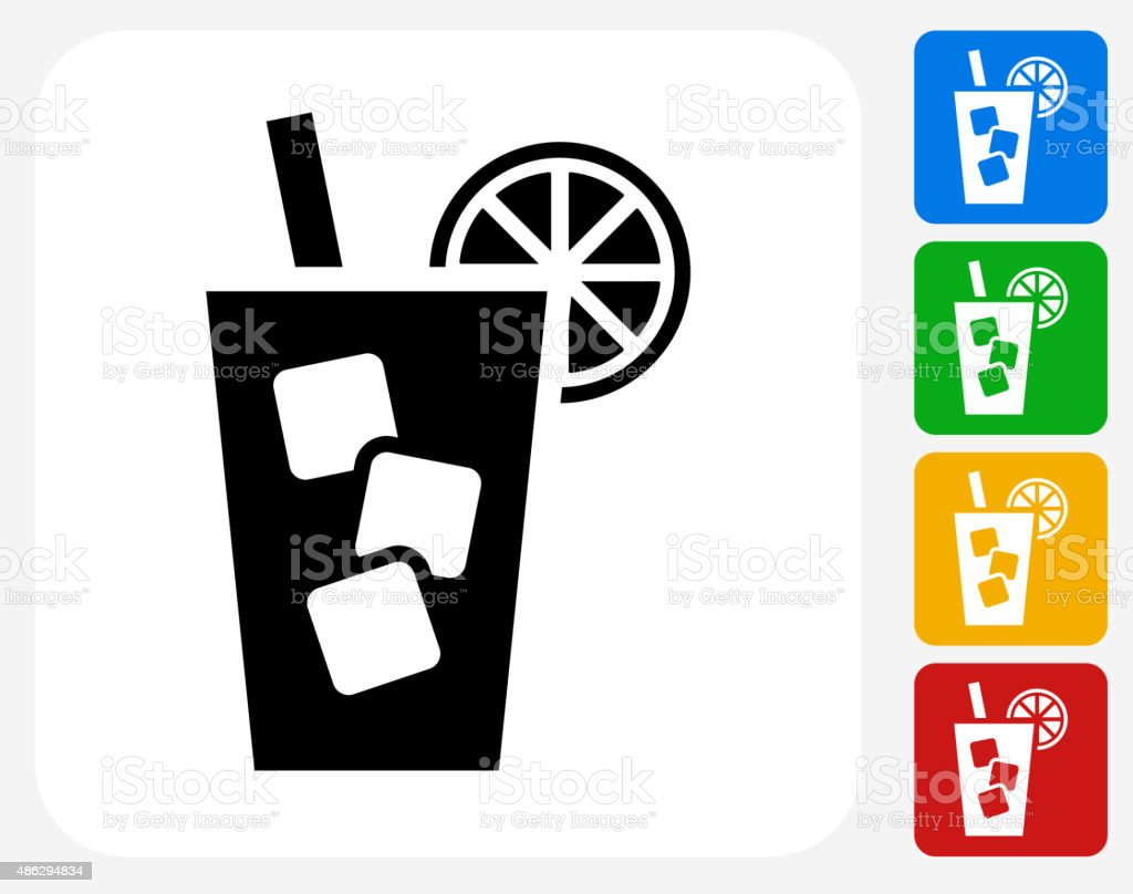 Cold Drink Icon Flat Graphic Design vector art illustration