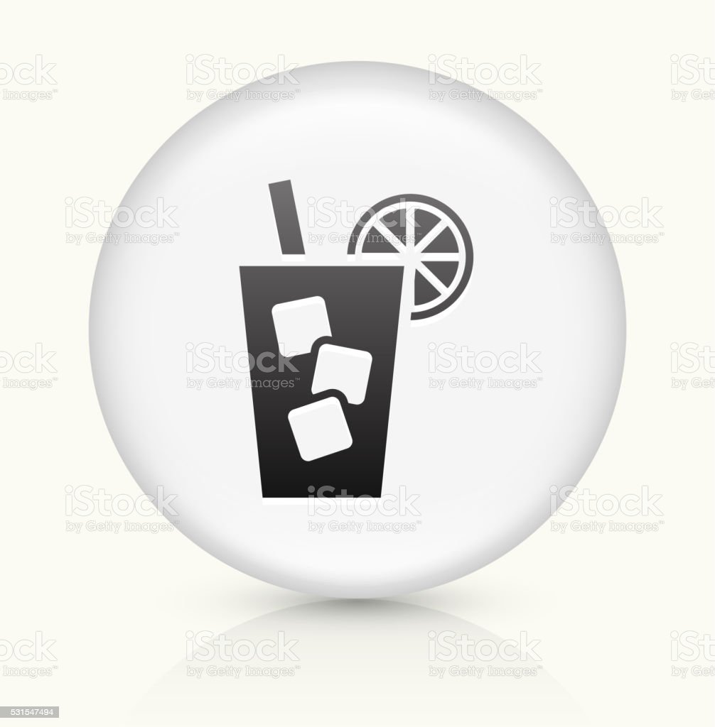 Cold Drink icon on white round vector button vector art illustration