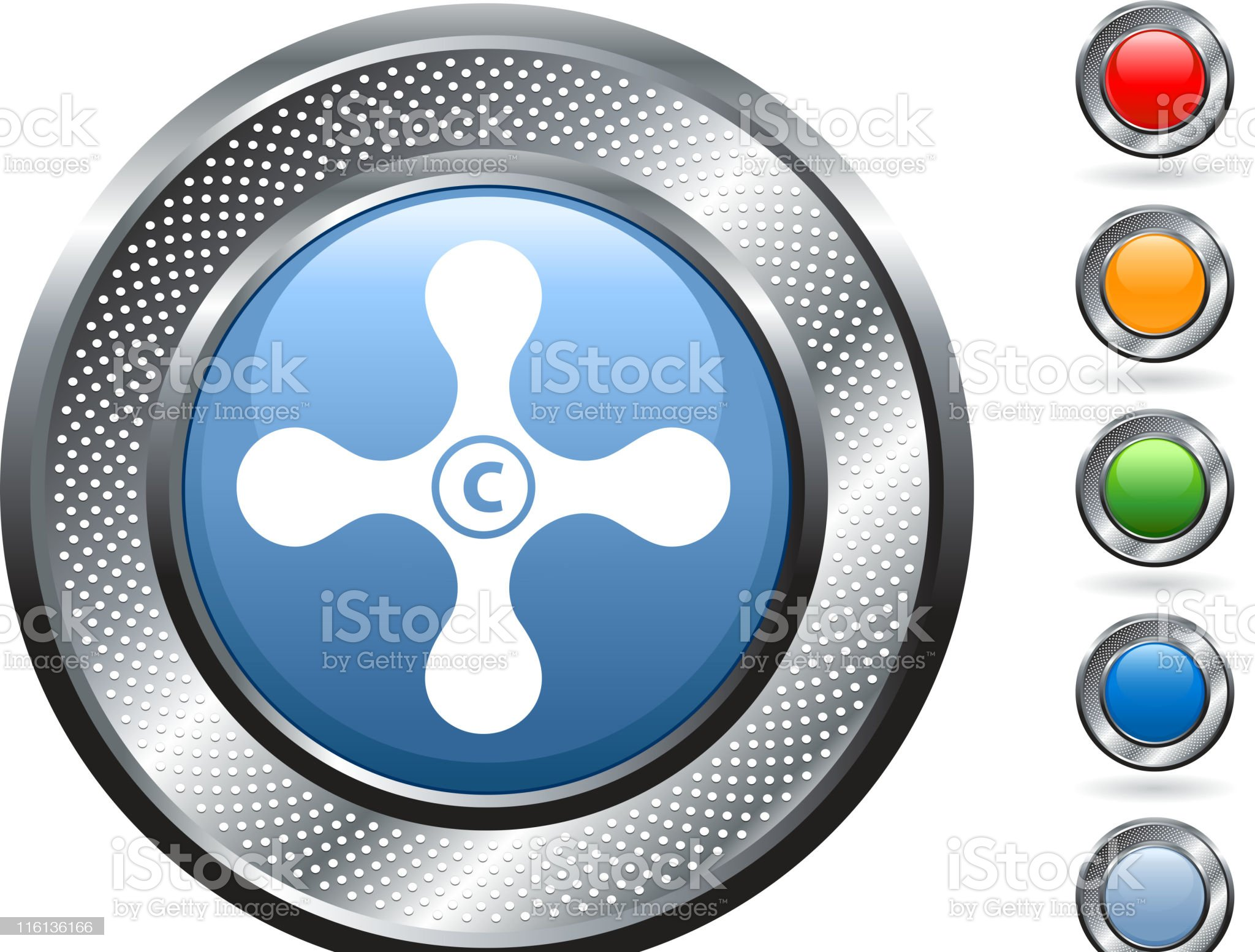 cold faucet royalty free vector art on metallic button royalty-free stock vector art